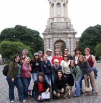 The 2006 group gathers in front of the Camponile at Trinity College Dublin.